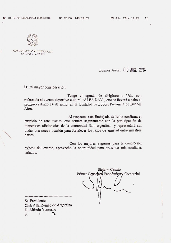 Auspicio Embajada de Italia